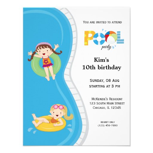Pool Party (girl) Custom Announcements