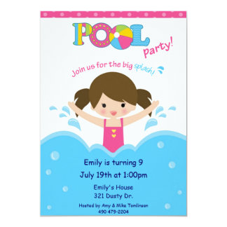 Pool Party -Girl 5x7 Paper Invitation Card