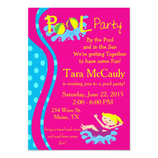 Pool Party Girl Invite