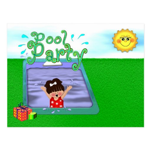 Pool Party Girl Postcard
