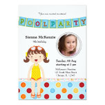 Pool Party (Girl) with a photo Personalized Announcements