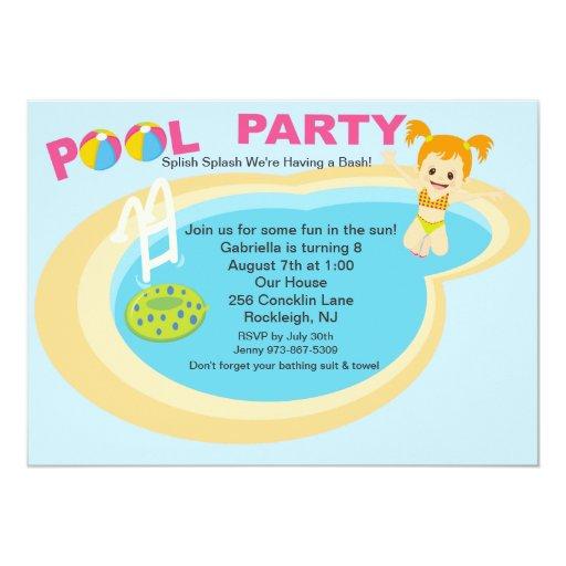Pool Party Girls Birthday Invitation