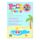 Pool party girls photo birthday party invitation