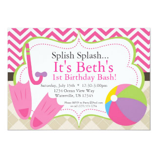 Pool Party Hot Pink Chevron and Tan Argyle Invite