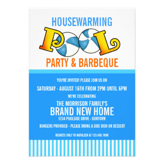 Pool Party Housewarming Party Invitation