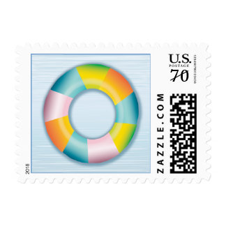 Pool Party Inner Tube Float Postage Stamp