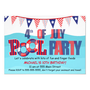 Birthday 4th Of July Party Invitations