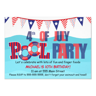 Pool Party Invitation 4th Of July at Zazzle