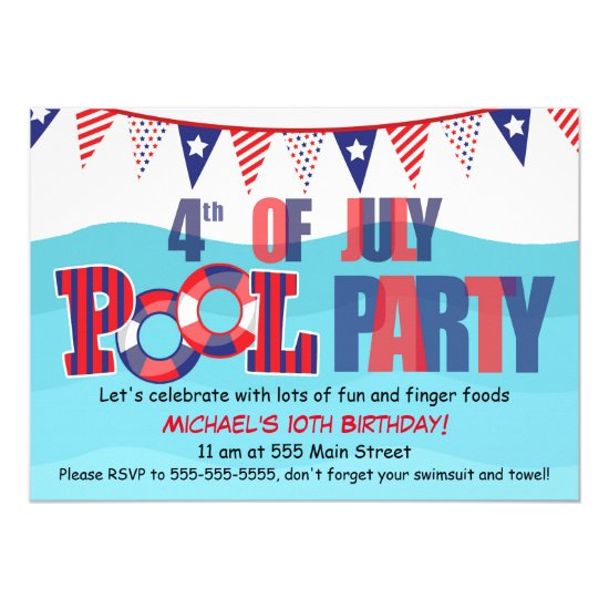 Pool Party Invitation 4th Of July