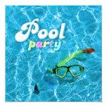 """Pool Party invitation 5.25"""" Square Invitation Card"""