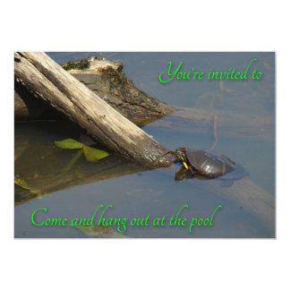 Pool Party Invitation - Basking Turtle