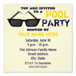 Pool Party Invitation - Black Sunglasses