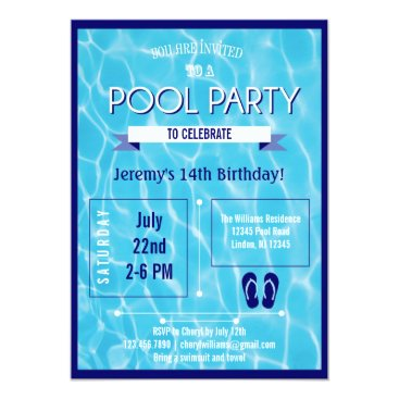 marlenedesigner Pool Party Invitation Blue