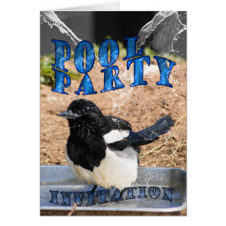 Pool Party Invitation card with magpie