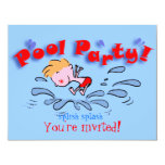 "pool party invitation kids 4.25"" x 5.5"" invitation card"