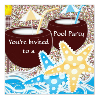 Pool Party Invitation or Any Occassion Graduation,