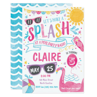 Pool Party Invitation, Pool Bash Birthday Invite