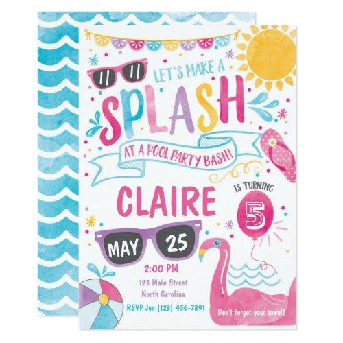 Pool Party Invitation, Pool Bash Birthday Invite