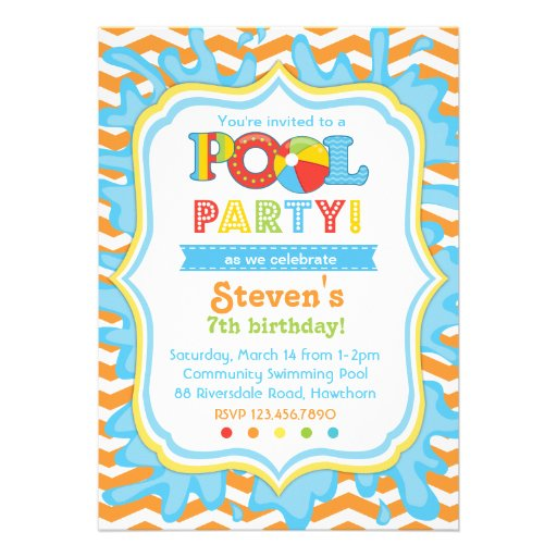Pool Party Invitation / Pool party Invite