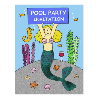 Pool party invitation with a mermaid. postcard