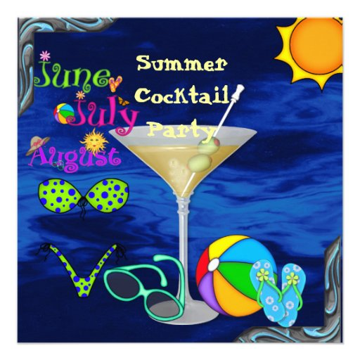 Pool Party INVITATION with Cocktails,Sunglass