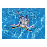 Pool Party Invitation with Moonies Cutie Pie Greeting Card