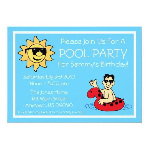 Pool Party Invitations (Male Red Innertube)