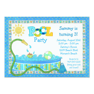 Pool Party Kids Birthday Party Invitation