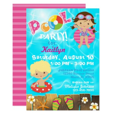 Beach Themed Pool Party Kids Swimming Birthday Card