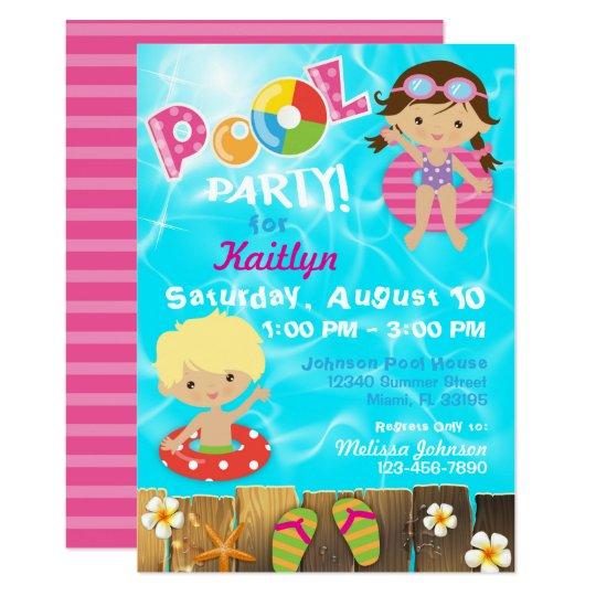 Pool Party Kids Swimming Birthday Invitation