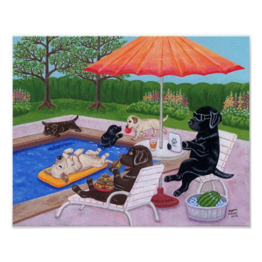 Pool Party Labradors 2 Artwork Poster