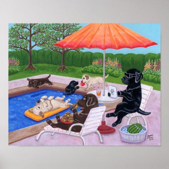 Pool Party Labradors 2 Artwork Poster
