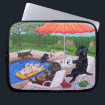 """Pool Party Labradors 2 Computer Sleeve<br><div class=""""desc"""">Whimsy and funny Beach Side Labrador Retriever painting painted by Naomi Ochiai from Japan. Black Labrador, Yellow Labrador, Chocolate Labrador are painted in the picture!! Labrador dogs are having lots of fun in the small tropical island for their summer vacation. Sleeping on the deck chair, surf boards, palm trees, cozy...</div>"""