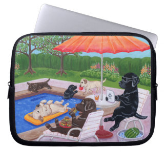 Pool Party Labradors 2 Computer Sleeve