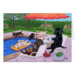 Pool Party Labradors 2 Greeting Card