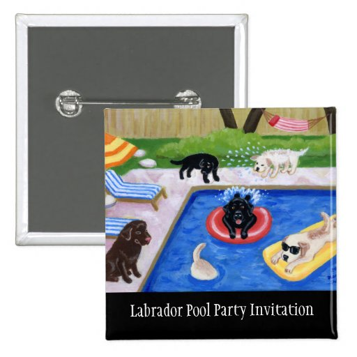 Pool Party Labradors 2 Inch Square Button