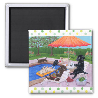 Pool Party Labradors 2 Fridge Magnets