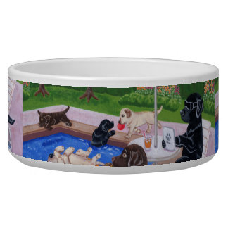 Pool Party Labradors 2 Painting Bowl