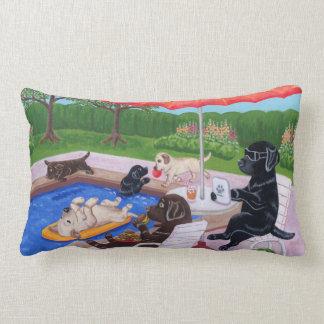 Pool Party Labradors 2 Painting Lumbar Pillow