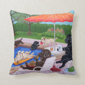 Pool Party Labradors 2 Painting Throw Pillow