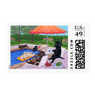 Pool Party Labradors 2 Painting Postage Stamp