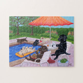 Pool Party Labradors 2 Painting Puzzle