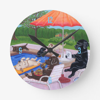 Pool Party Labradors 2 Painting Round Wall Clock