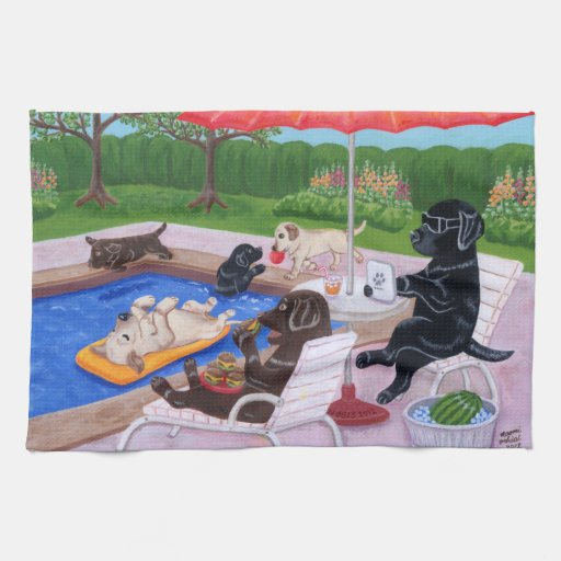 Pool Party Labradors 2 Towel