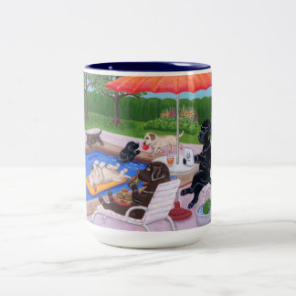 Pool Party Labradors 2 Two-Tone Coffee Mug