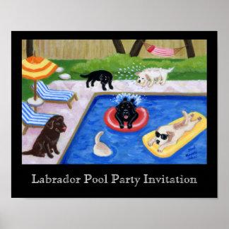 Pool Party Labradors Artwork Poster