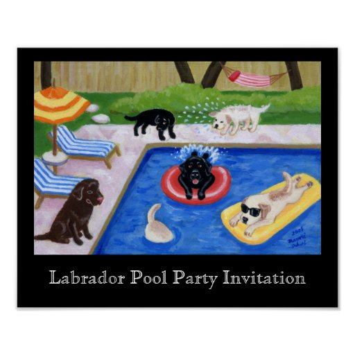 Pool Party Labradors Artwork Poster