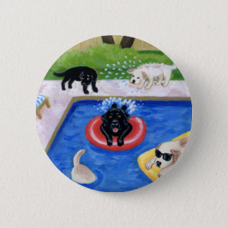Pool Party Labradors Button
