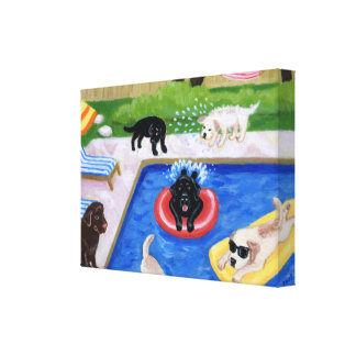 Pool party Labradors Stretched Canvas Prints