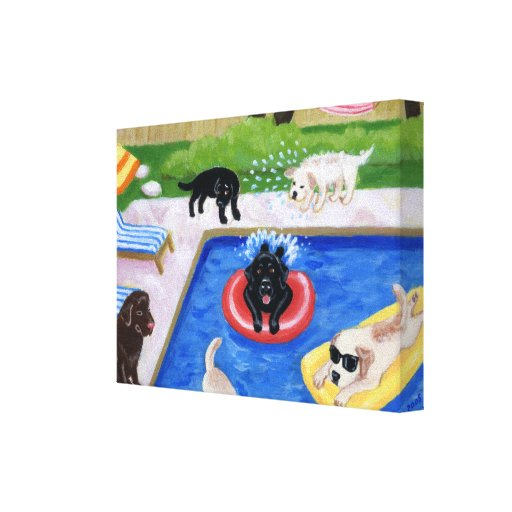 Pool party Labradors Canvas Print